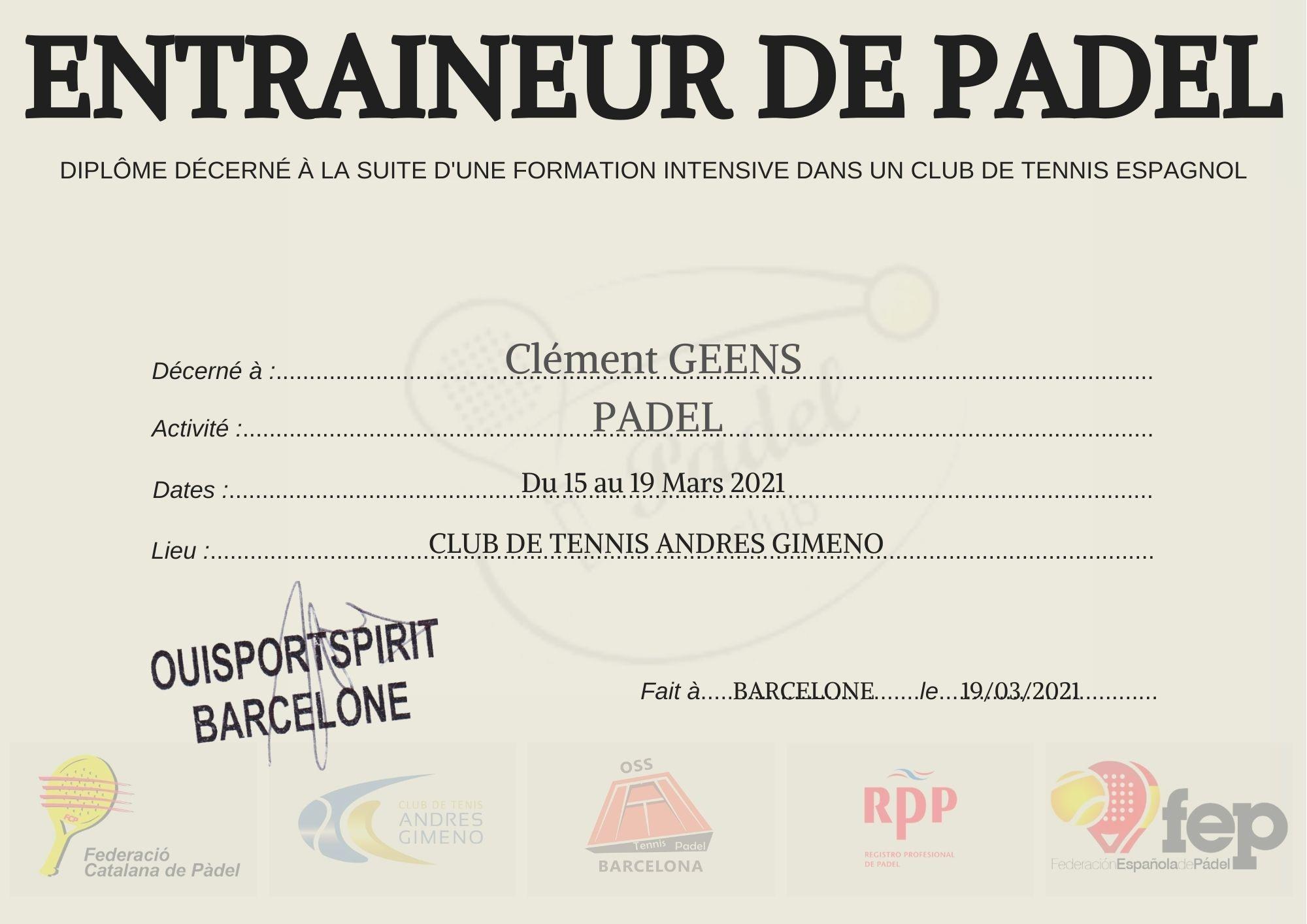 Diplôme Padel Clément Geens - Académie de Padel